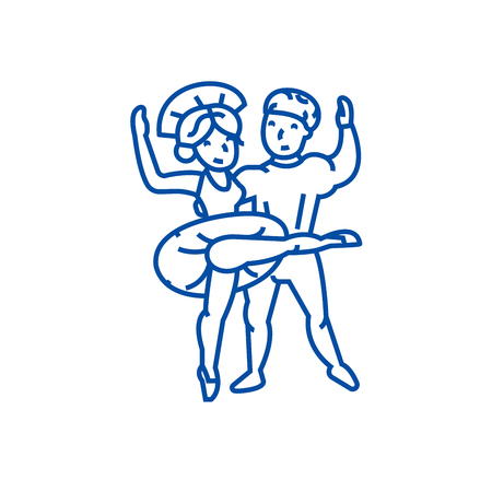 Ballet couple, dancing man and woman line concept icon. Ballet couple, dancing man and woman flat  vector website sign, outline symbol, illustration.
