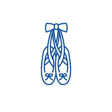 Ballet shoes line concept icon. Ballet shoes flat  vector website sign, outline symbol, illustration.