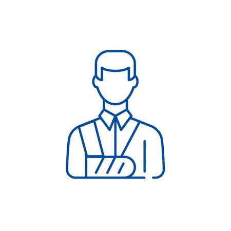 Bandaged man line concept icon. Bandaged man flat  vector website sign, outline symbol, illustration.