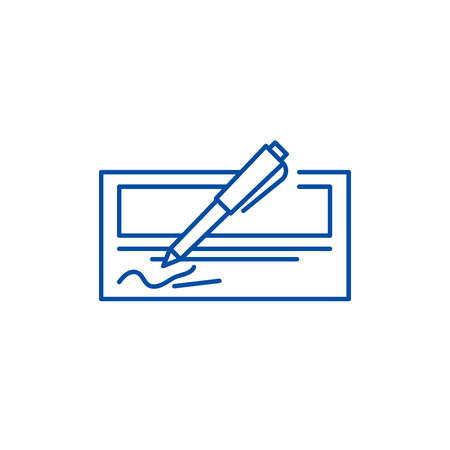 Bank check line concept icon. Bank check flat  vector website sign, outline symbol, illustration.