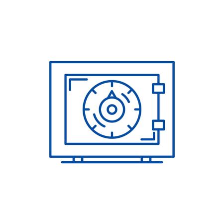 Bank money safe line concept icon. Bank money safe flat  vector website sign, outline symbol, illustration.