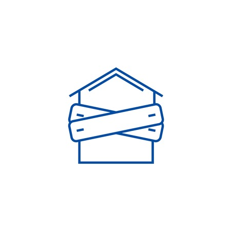 Bankruptcy,boarded up house line concept icon. Bankruptcy,boarded up house flat  vector website sign, outline symbol, illustration.