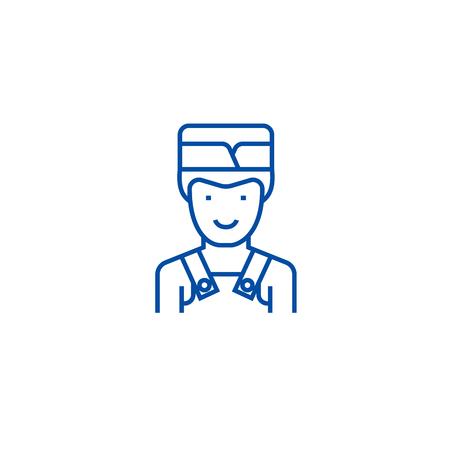 Barman line concept icon. Barman flat  vector website sign, outline symbol, illustration.