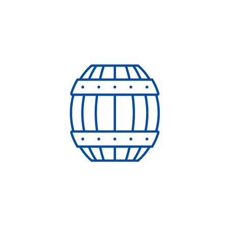 Barrel line concept icon. Barrel flat  vector website sign, outline symbol, illustration.