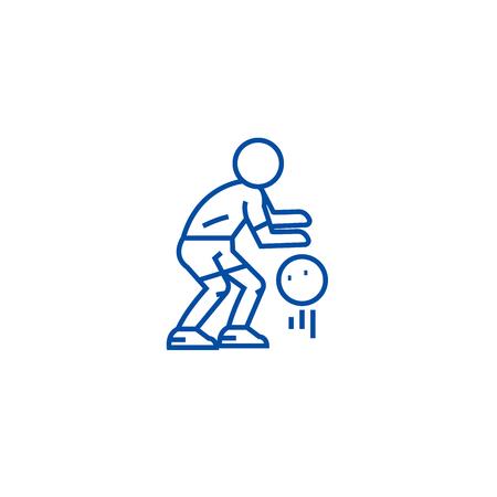 Basketball player line concept icon. Basketball player flat  vector website sign, outline symbol, illustration.
