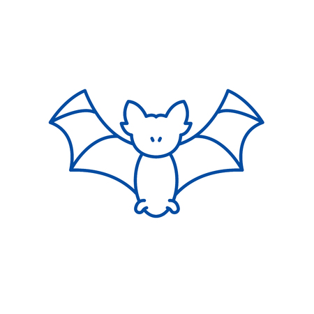Bat line concept icon. Bat flat vector website sign, outline symbol, illustration.