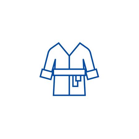 Bathrobe,spa, home line concept icon. Bathrobe,spa, home flat  vector website sign, outline symbol, illustration.