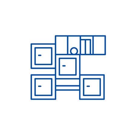 Bathroom furniture line concept icon. Bathroom furniture flat  vector website sign, outline symbol, illustration.  イラスト・ベクター素材