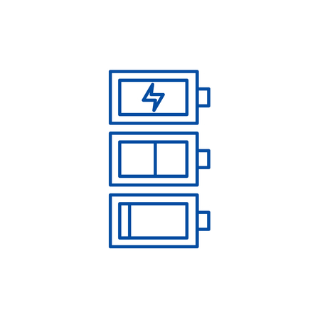 Battery charge line concept icon. Battery charge flat  vector website sign, outline symbol, illustration. Illustration