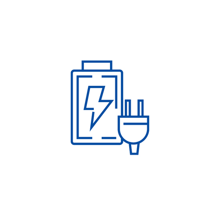 Battery charger line concept icon. Battery charger flat  vector website sign, outline symbol, illustration.