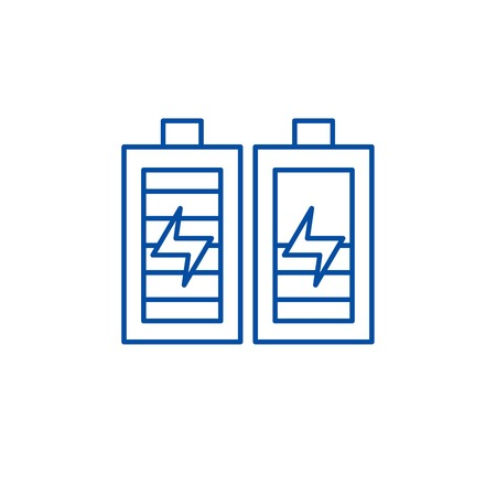 Battery charging line concept icon. Battery charging flat  vector website sign, outline symbol, illustration.