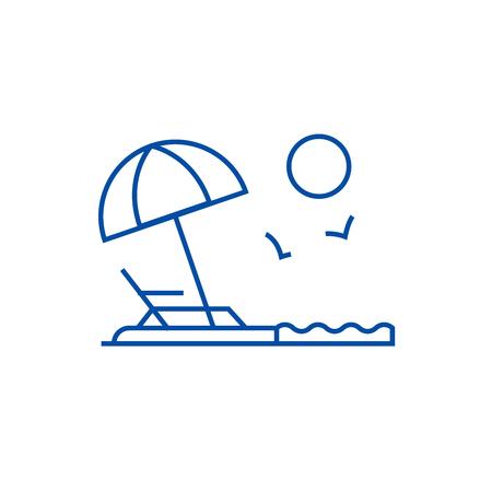 Beach line concept icon. Beach flat  vector website sign, outline symbol, illustration. Illustration