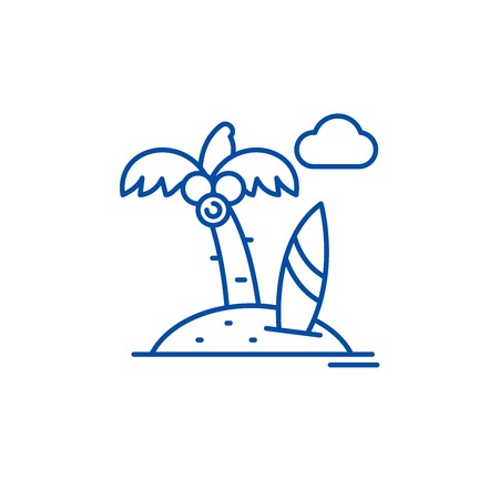 Beach holiday line concept icon. Beach holiday flat  vector website sign, outline symbol, illustration. 写真素材 - 119710505
