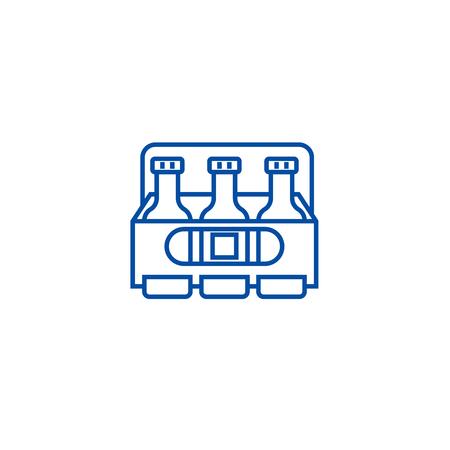 Beer box line concept icon. Beer box flat  vector website sign, outline symbol, illustration.