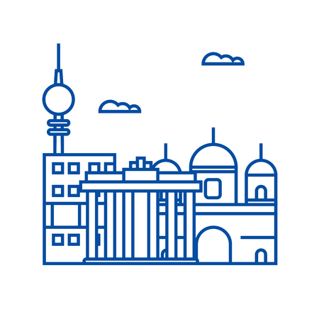 Berlin line concept icon. Berlin flat  vector website sign, outline symbol, illustration.  イラスト・ベクター素材
