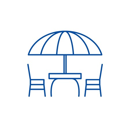 Beach table and chairs line concept icon. Beach table and chairs flat  vector website sign, outline symbol, illustration.  イラスト・ベクター素材