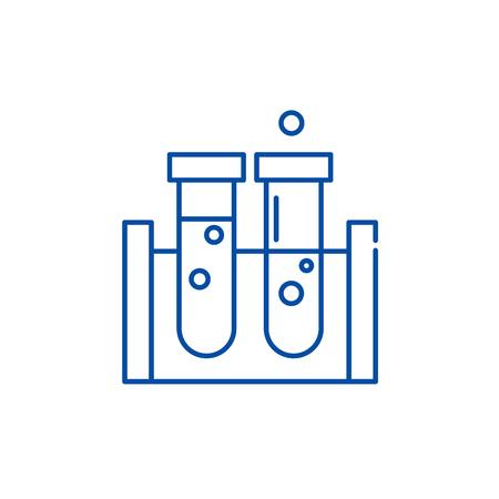 Beakers line concept icon. Beakers flat  vector website sign, outline symbol, illustration.