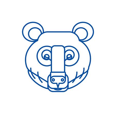 Bear head line concept icon. Bear head flat  vector website sign, outline symbol, illustration. Illustration
