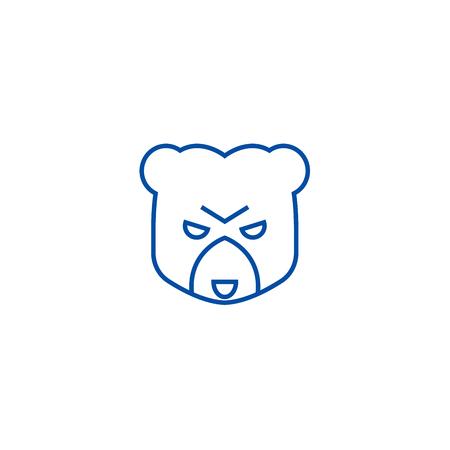 Bear head sign line concept icon. Bear head sign flat  vector website sign, outline symbol, illustration.