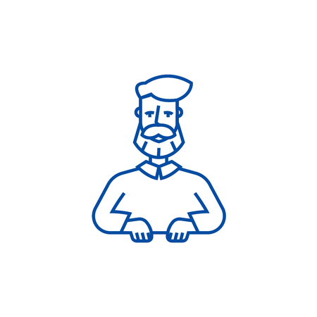 Beard man line concept icon. Beard man flat  vector website sign, outline symbol, illustration. Banque d'images - 119710581