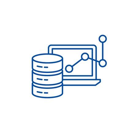 Big data framework line concept icon. Big data framework flat  vector website sign, outline symbol, illustration. Stock Vector - 119710582