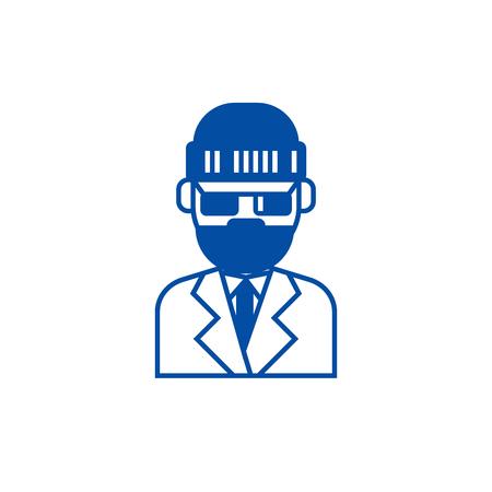 Beard man in suite line concept icon. Beard man in suite flat  vector website sign, outline symbol, illustration.