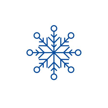 Ikona koncepcja linii piękny śnieżynka. Piękny śnieżynka płaski wektor stronie znak, symbol konspektu, ilustracja.