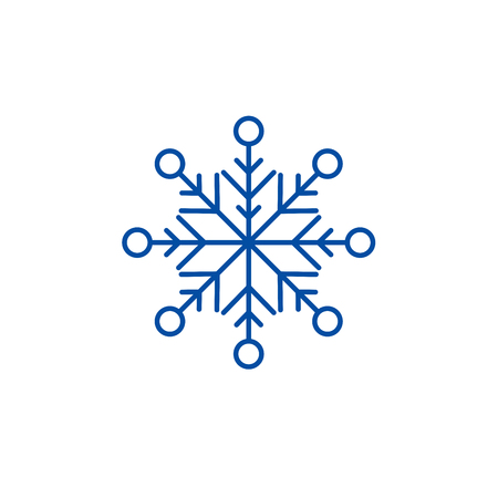 Beautiful snowflake line concept icon. Beautiful snowflake flat  vector website sign, outline symbol, illustration. Illustration
