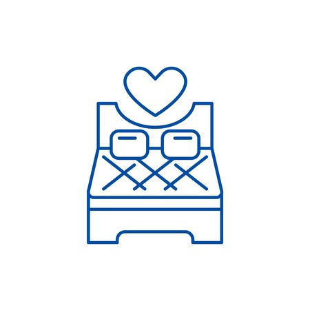 Bed for lovers line concept icon. Bed for lovers flat  vector website sign, outline symbol, illustration.