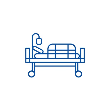 Bed in hospital line concept icon. Bed in hospital flat  vector website sign, outline symbol, illustration.