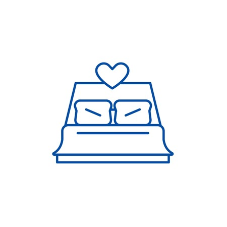 Bed newlyweds line concept icon. Bed newlyweds flat  vector website sign, outline symbol, illustration.