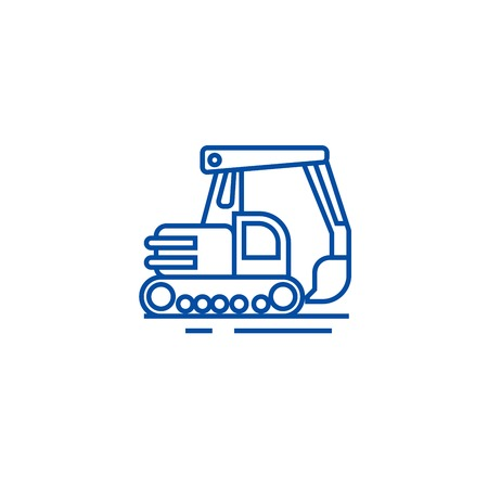 Big excavator line concept icon. Big excavator flat  vector website sign, outline symbol, illustration.