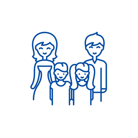 Big family line concept icon. Big family flat  vector website sign, outline symbol, illustration. Vectores