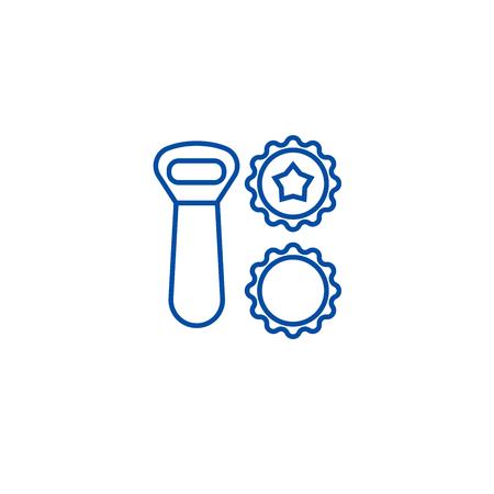 Beer opener, bottle caps line concept icon. Beer opener, bottle caps flat  vector website sign, outline symbol, illustration. Illustration