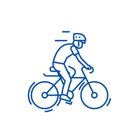 Bicycling,bycicle man line concept icon. Bicycling,bycicle man flat  vector website sign, outline symbol, illustration. Stock Vector - 119710640