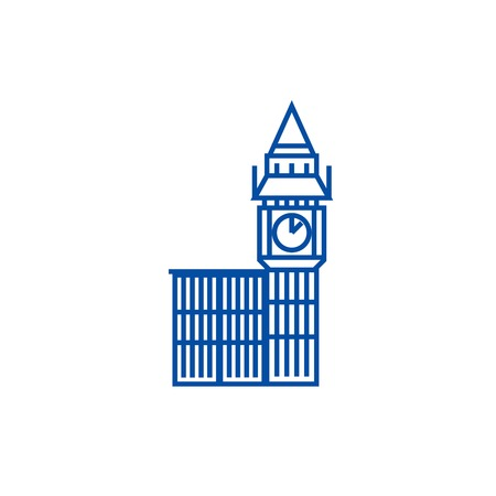 Big ben london line concept icon. Big ben london flat  vector website sign, outline symbol, illustration.