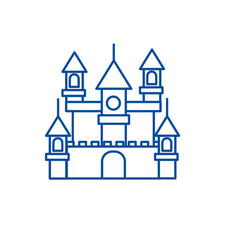 Big castle,germany line concept icon. Big castle,germany flat  vector website sign, outline symbol, illustration.