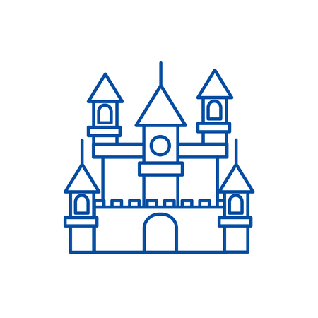 Big castle,germany line concept icon. Big castle,germany flat  vector website sign, outline symbol, illustration.