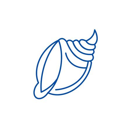 Big shell  line concept icon. Big shell  flat  vector website sign, outline symbol, illustration.