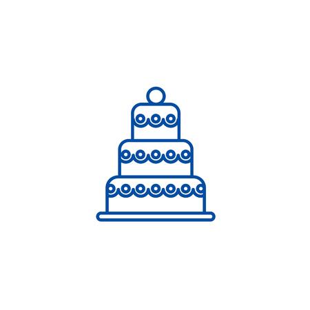 Big wedding cake line concept icon. Big wedding cake flat  vector website sign, outline symbol, illustration.