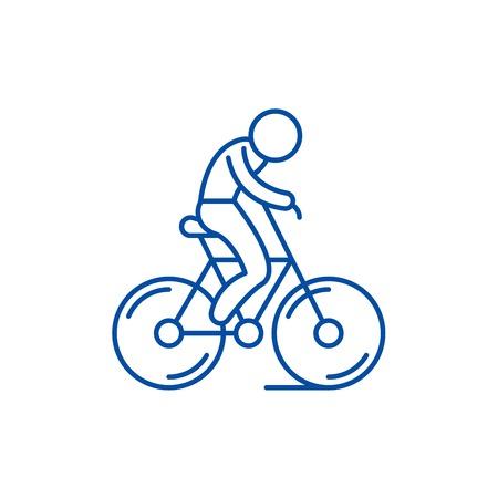 Biking line concept icon. Biking flat  vector website sign, outline symbol, illustration.