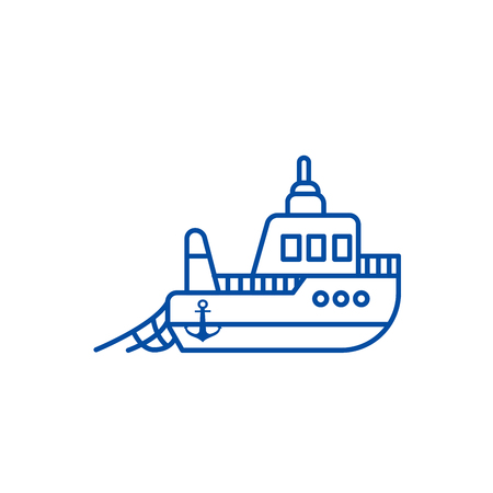 Boat fishing line concept icon. Boat fishing flat  vector website sign, outline symbol, illustration.