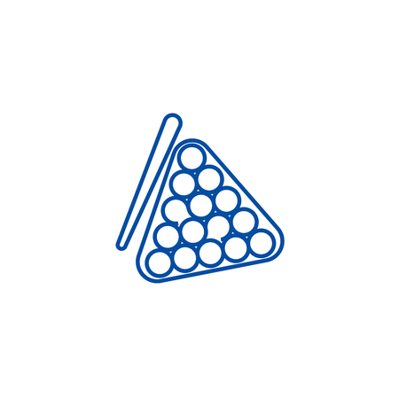 Billiards line concept icon. Billiards flat  vector website sign, outline symbol, illustration. Illustration