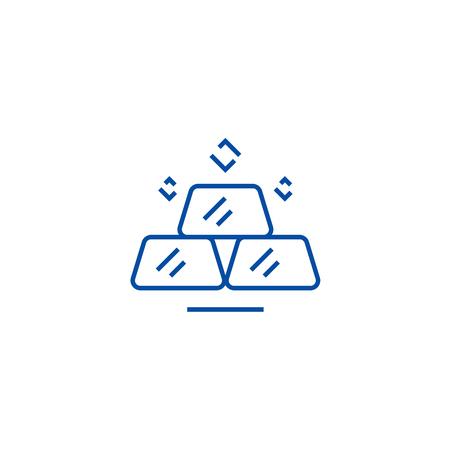 Billion,gold bars line concept icon. Billion,gold bars flat  vector website sign, outline symbol, illustration. Ilustração