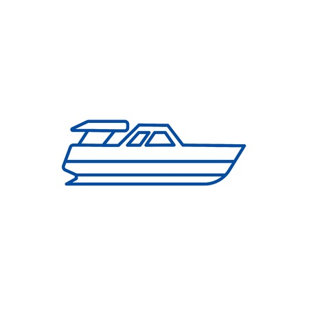 Boat launch,yacht line concept icon. Boat launch,yacht flat  vector website sign, outline symbol, illustration. Stock Vector - 119710734