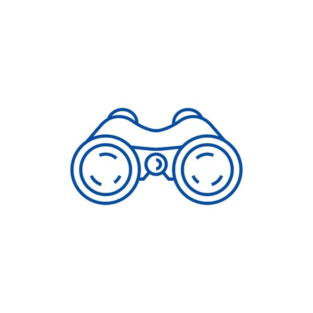 Binoculars,periscope,vision line concept icon. Binoculars,periscope,vision flat  vector website sign, outline symbol, illustration.