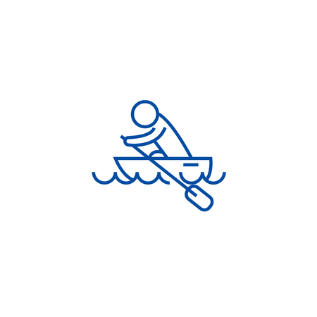 Boat race, kayaks, rowing race line concept icon. Boat race, kayaks, rowing race flat  vector website sign, outline symbol, illustration. 向量圖像