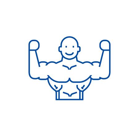 Bodybuilder line concept icon. Bodybuilder flat  vector website sign, outline symbol, illustration. Stock Vector - 119710741