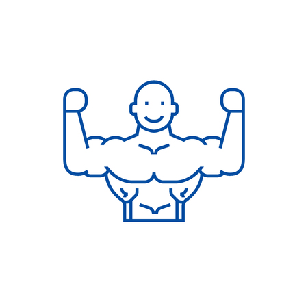 Bodybuilder line concept icon. Bodybuilder flat  vector website sign, outline symbol, illustration.