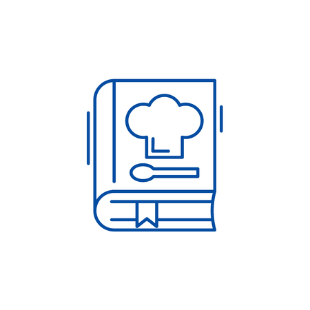Book of recipes line concept icon. Book of recipes flat  vector website sign, outline symbol, illustration.